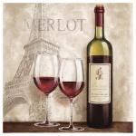 levandeo Glasbild 30x30cm Wandbild Glas Frankreich Küche Deko Wein Bild