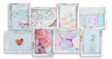 levandeo Bilderrahmen Collage 68x36cm 8 Fotos 13x18 Shabby Chic MDF Holz Glas