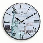 Wanduhr Holz Amerika USA New York Freiheitsstatue Uhr römische Ziffer