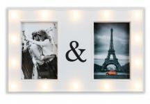 levandeo Bilderrahmen Weiß 33x21cm 2 Fotos 10x15cm LED Collage Fotorahmen Glas