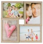 levandeo Bilderrahmen Collage 34x34cm 4 Fotos 13x18 Eiche gekälkt Holz MDF Glas