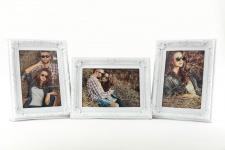 3er Set Fotorahmen je 1 Foto weiß 10x15 - Barock Landhaus Shabby Antik