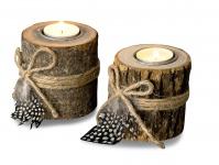 2er Set Teelichthalter Holz je 8, 5cm hoch Kerzenhalter Federn Kerzenständer