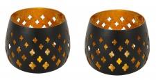 2er Set Teelichthalter Schwarz Gold 8x7cm Eisen Kerzenhalter Windlicht Deko