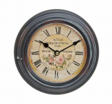 Wanduhr Metall 22cm rund Paris Rosen römische Ziffern Nostalgie Uhr