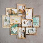 levandeo Bilderrahmen Collage 55x50cm Kupfer Schwarz Glas 10 Fotos 10x15cm