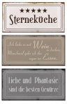 Blech-Schilder 3er Set je 18, 5 x 9 cm Sterneküche Metall Schild Wanddekoration