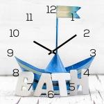 levandeo Wanduhr Glas 30x30cm Glasuhr Uhr Glasbild Bath Bad Maritim Blau Boot