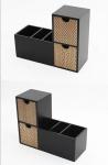 2er Regalbox Schreibtischbox Ablage Organizer Buchstütze Holz schwarz