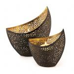 2er Set Design Teelichthalter Schwarz Windlicht Metall 11cm 14, 5cm