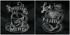 levandeo Glasbild 2er Set je 30x30cm Wandbild Glas Schwaz Weiß Espresso Latte