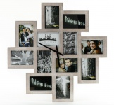 Bilderrahmen Wanduhr 65x65cm Holz Braun 12 Fotos Shabby Chic Vintage