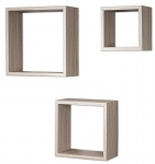 3er Set Cube Wandregal Regal 25cm 20cm 15cm Holz Eiche gekälkt Dekor Würfelregal
