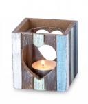 Windlicht 7, 5 x 8 cm Teelichthalter Holz Blau Weiß Herz Maritim Glas Deko Kerzen