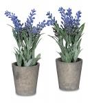 2er Set Lavendel im Topf 21cm Kunstblume Violett Kunstpflanze Blume Deko