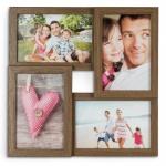 levandeo Bilderrahmen Collage 28x28cm 4 Fotos 10x15 Nussbaum MDF Holz Glas