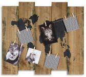 Wandbild Weltkarte 60x53cm Holz Braun 10 Klammern Bilderrahmen Schild