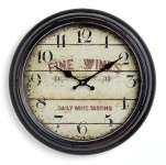 Wanduhr Metall 37cm France Frankreich Wein Nostalgie Landhaus Uhr