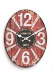 Wanduhr Metall 30x22cm oval London England 1879 Uhr rot