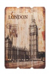 Holzbild Holzschild London BigBen Schild Wandbild Dekoschild Vintage