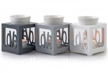 Duftlampe grau/ silber Love Keramik Öllampe Aromalampe Aromaspender