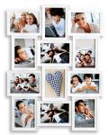 Bilderrahmen in Weiß für 12 Fotos 13x18 Fotogalerie Collage Fotorahmen