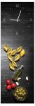 Wanduhr aus Glas 20x60cm Uhr als Glasbild Pasta Küche Nudeln Deko