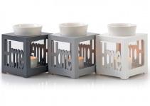 Duftlampe grau/ silber Home Keramik Öllampe Aromalampe Aromaspender
