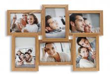 Fotogalerie Holz Eiche natur 6 Fotos 10x15 Glasscheibe Bilderrahmen