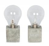 2er Set Tischleuchte 9, 5x20cm LED Glühbirne Beton Tischlampe Deko Glas