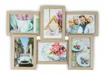 levandeo Bilderrahmen Collage 45x31cm 6 Fotos 10x15 Eiche gekälkt Holz MDF Glas