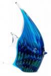 levandeo Glas Skulptur BxHxT 16x21x4cm Glasfigur Fisch Glaskunst Blau Maritim