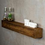 levandeo Wandregal Holz Massiv 80x10cm Nussbaum Farbig Wandboard Regal Vintage