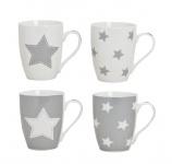 4er Set Becher Tassen Kaffeebecher Kaffeepott Grau Stern