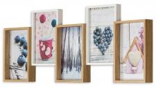 Bilderrahmen Holz 54, 5x21cm Eiche Weiß 5 Fotos 10x15 Glas Fotorahmen