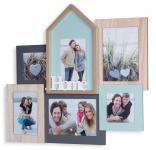 Bilderrahmen 6 Fotos 48x44, 5x4cm Holz Natur Home Collage Fotorahmen