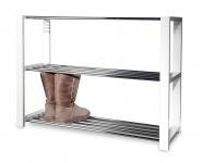 Schuhregal Schuhablage chrom Metall weiß Holz Regal für Schuhe