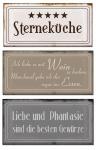Blech-Schilder 3er Set je 18, 5x9cm 5 Sterneküche Metallschilder Deko