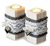 2er Set Teelichthalter Holz je 14cm hoch Kerzenhalter Shabby Chic Weiß Herz
