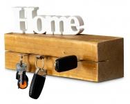 levandeo Schlüsselbrett Holz Massiv 35x10cm Eiche lackiert Schlüsselleiste Board