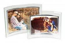 2er Set geschwungene Bilderrahmen aus Glas 10x15cm und 13x18cm Fotorahmen Bild