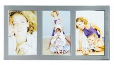 levandeo Bilderrahmen 3 Fotos 10x15cm Collage Alu Aluminium silber Fotorahmen