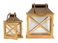 2er Set Laternen 32cm und 22cm Holz Metall Natur Windlicht Deko Garten