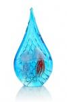 Designer Skulptur aus Glas - Design Tropfen Qualle Unikat blau 31cm