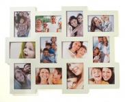 Fotogalerie aus Holz in weiß für 12 Fotos weiße Collage Bilderrahmen
