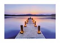 Wandbild LED Leinwandbild 60x40cm Steg Kerzen Dekoration Wanddeko Beleuchtet
