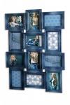 Bilderrahmen 68x52x2cm Collage Blau 12 Fotos 10x15 Glas Fotorahmen