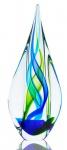 Designer Skulptur 34cm Hoch Glas Design Glasskulptur Glasdeko Blau Grün Unikat