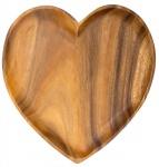 Holzschale Akazie 30cm Herz Teller Snackschale Schale Obstschale Dekoschale Holz