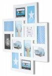 Bilderrahmen Collage 60x60cm 12 Fotos 10x15cm Holz Weiß Galerie Fotorahmen